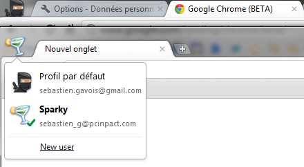 Google Chrome beta profil utilisateur multiple