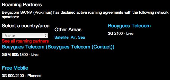 Free Mobile roaming Belgique
