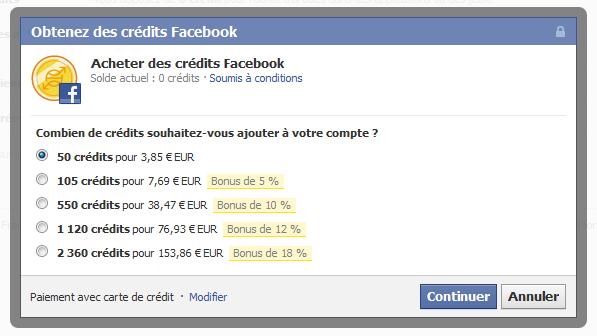 Facebook credits fnac
