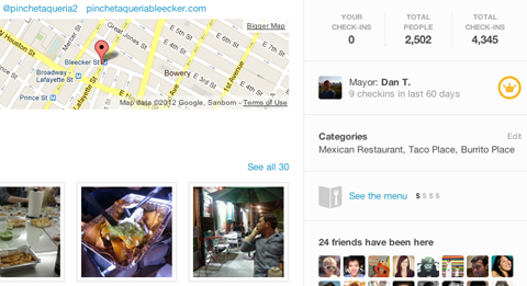 Foursquare menu restaurant