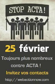 Stop Acta manifestation 25 février
