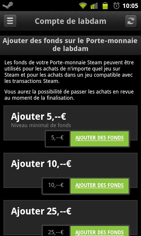 steam pour android passe en version 1 0 4 et ajoute le porte monnaie