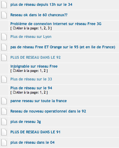 Free Mobile panne forum Univers Freebox