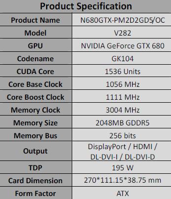 MSI GTX 680 Overclockée N680GTX-PM2D2GD5/OC