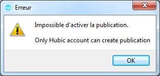 HubiC activation partage message erreur