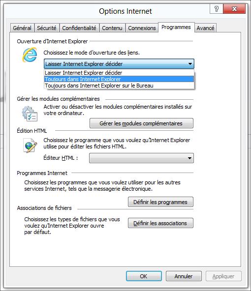 Internet explorer 10 deux environnements deux comportements for Probleme ouverture fenetre internet explorer