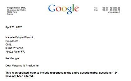 CNIL Google lettre 20 avril