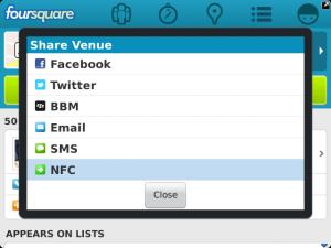Foursquare BlackBerry