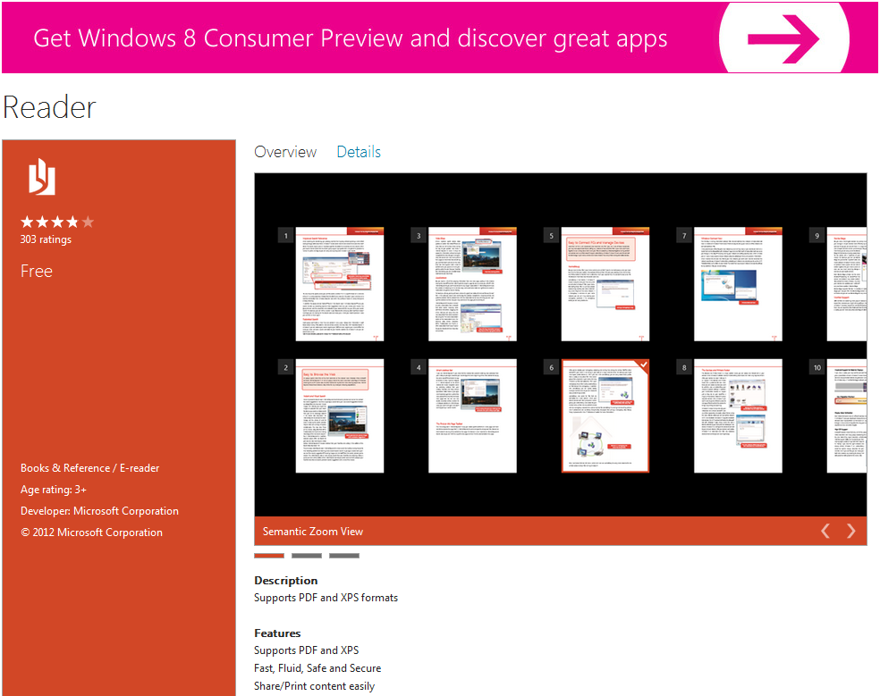 microsoft pdf reader windows 8