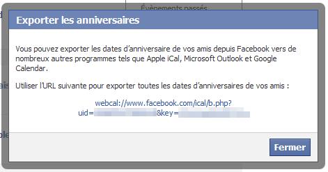 Facebook Anniversaires ICS