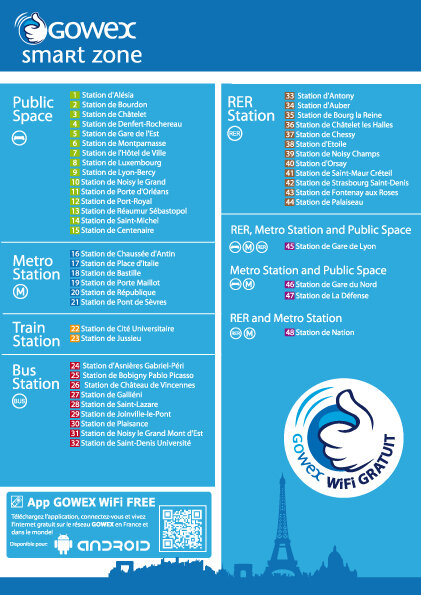 metro paris gowex liste point accès wifi