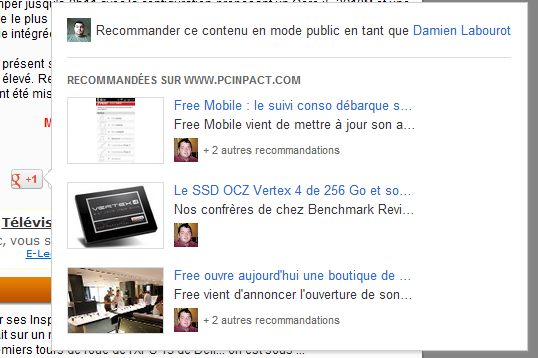 Google +1 recommendation