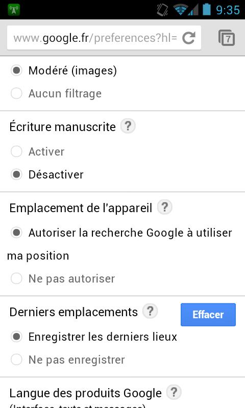 Google Mobile Recherche Tactile