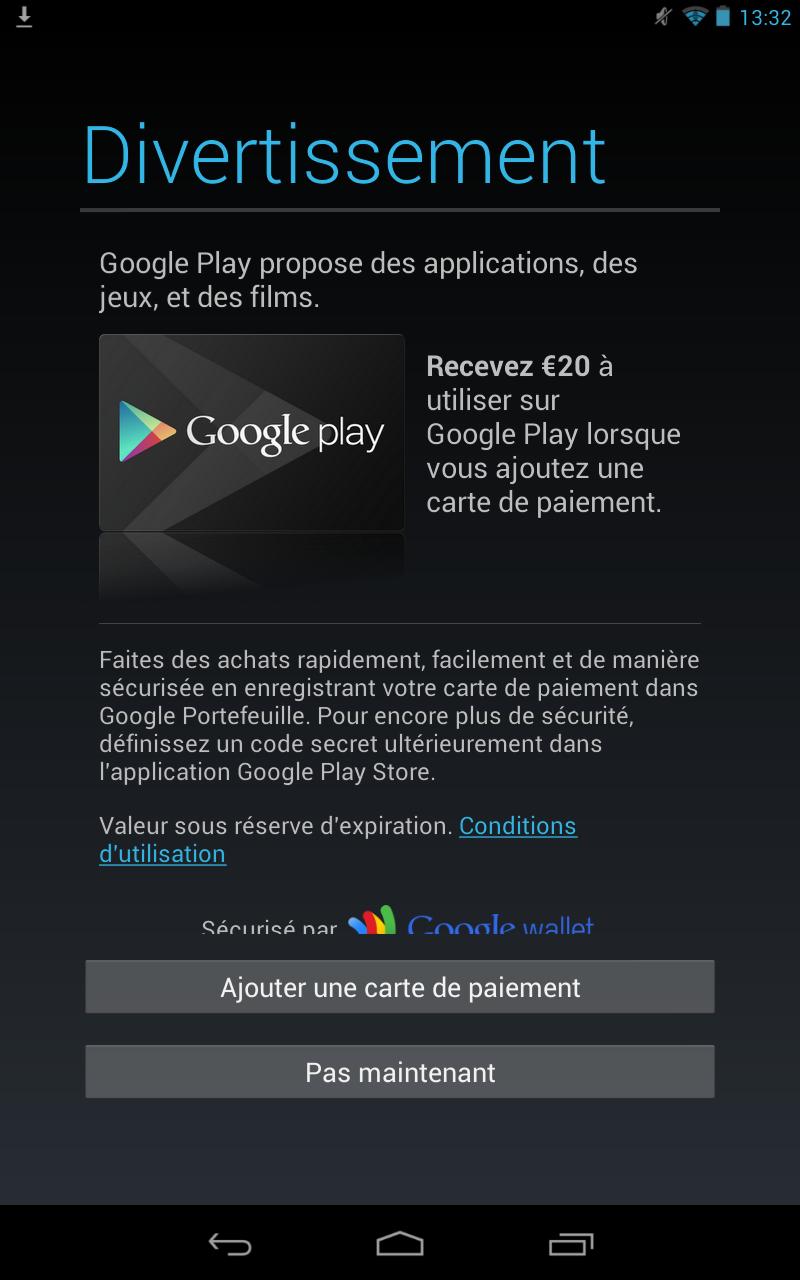 Nexus 7 Offre 20 euros
