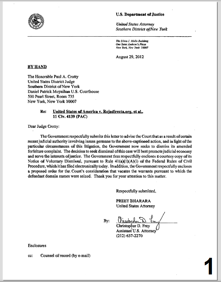 Rojadirecta r cup re ses com et org ill galement saisis for Addressing a judge in a cover letter