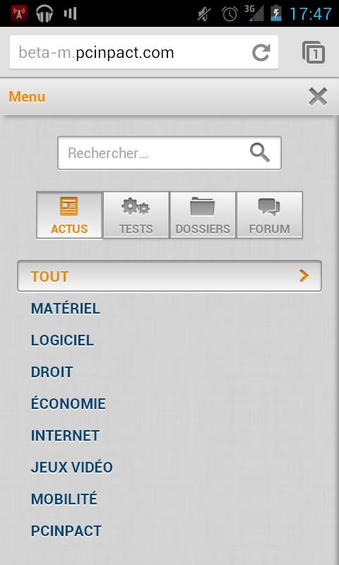 PC INpact Mobile Bêta Rentrée 2012