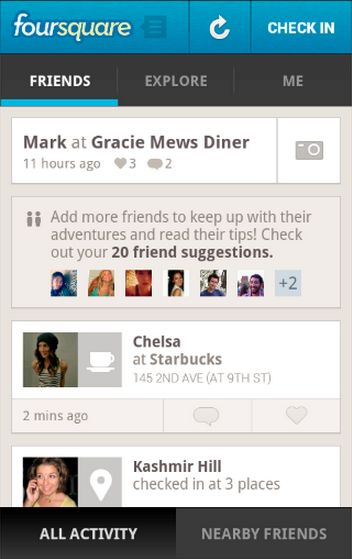 foursquare check-in proximite android
