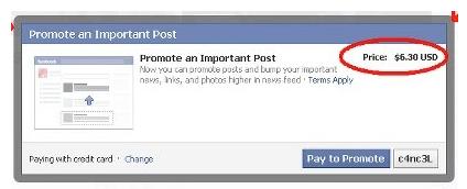 Facebook promotion payante