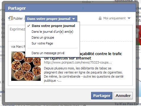 facebook option partager