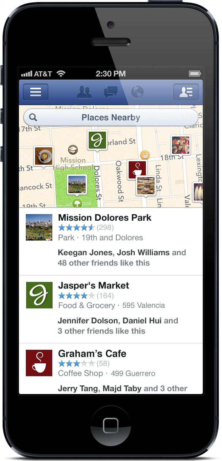 facebook recherche lieux recommandation