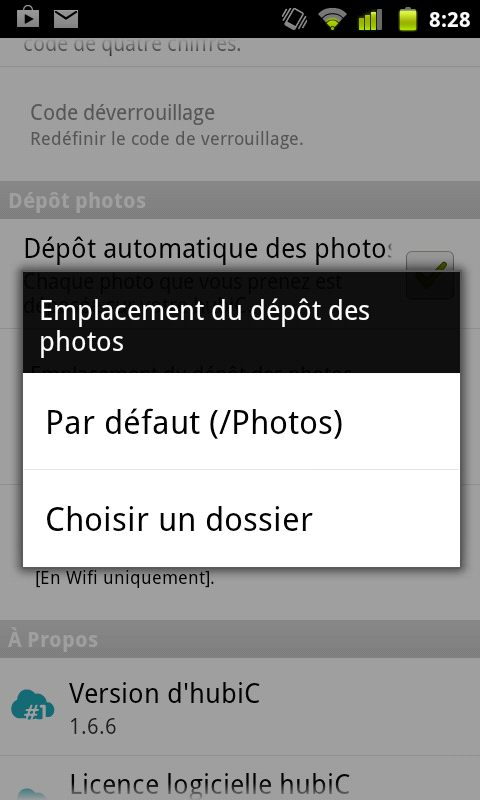 hubic android upload automatique