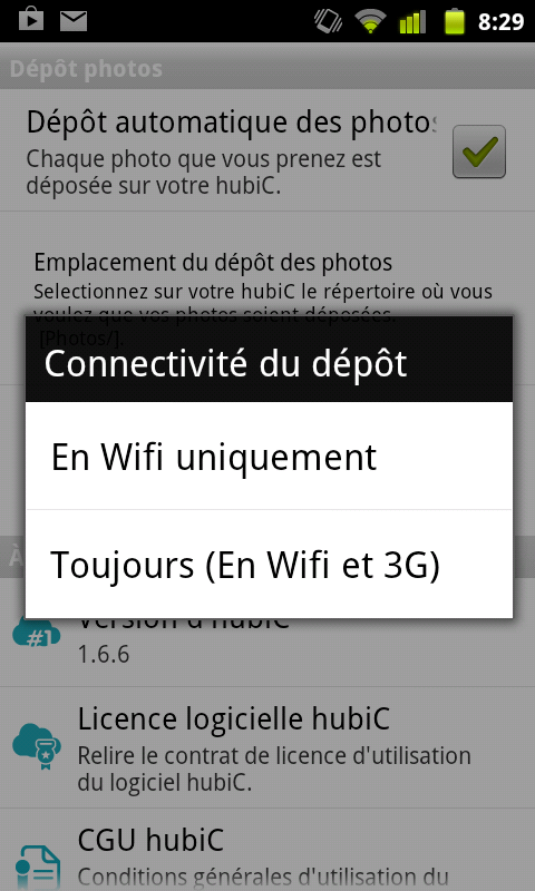 hubic upload automatique