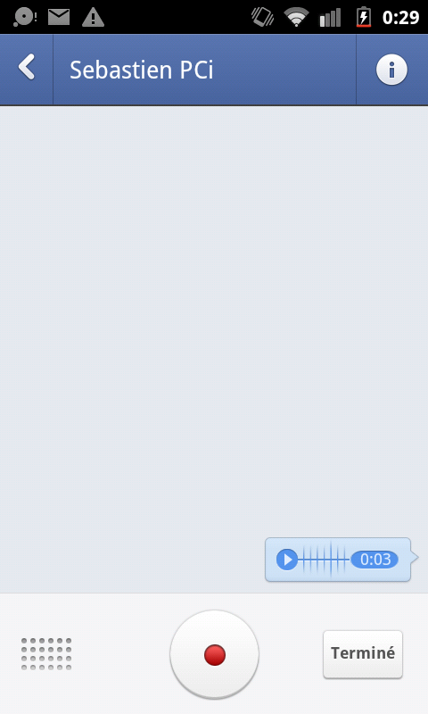 facebook android message vocal