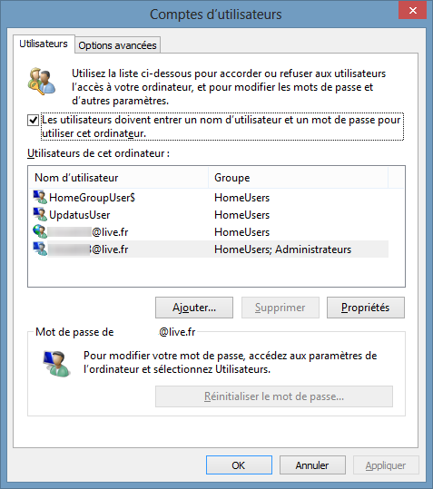 Windows 8 ouverture session