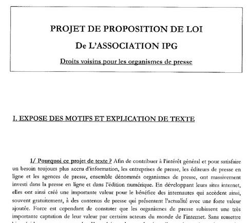 Taxe Google proposition de loi droit voisin