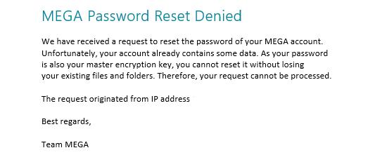 MEGA Reset Mot de passe Denied