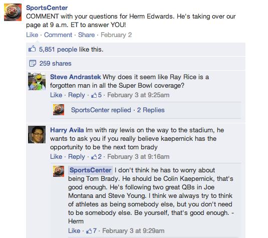 Facebook réponse commentaire