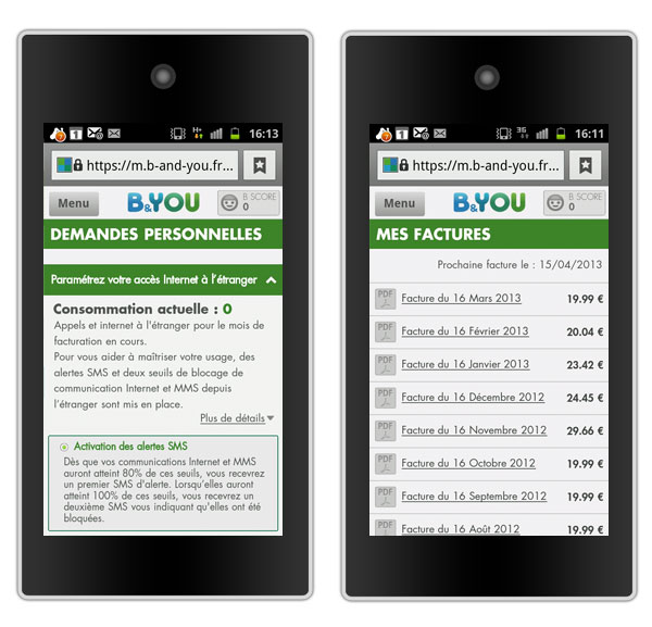 B&You site mobile