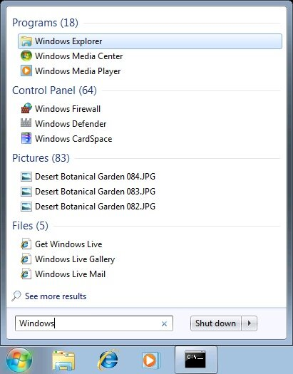 windows7 recherche