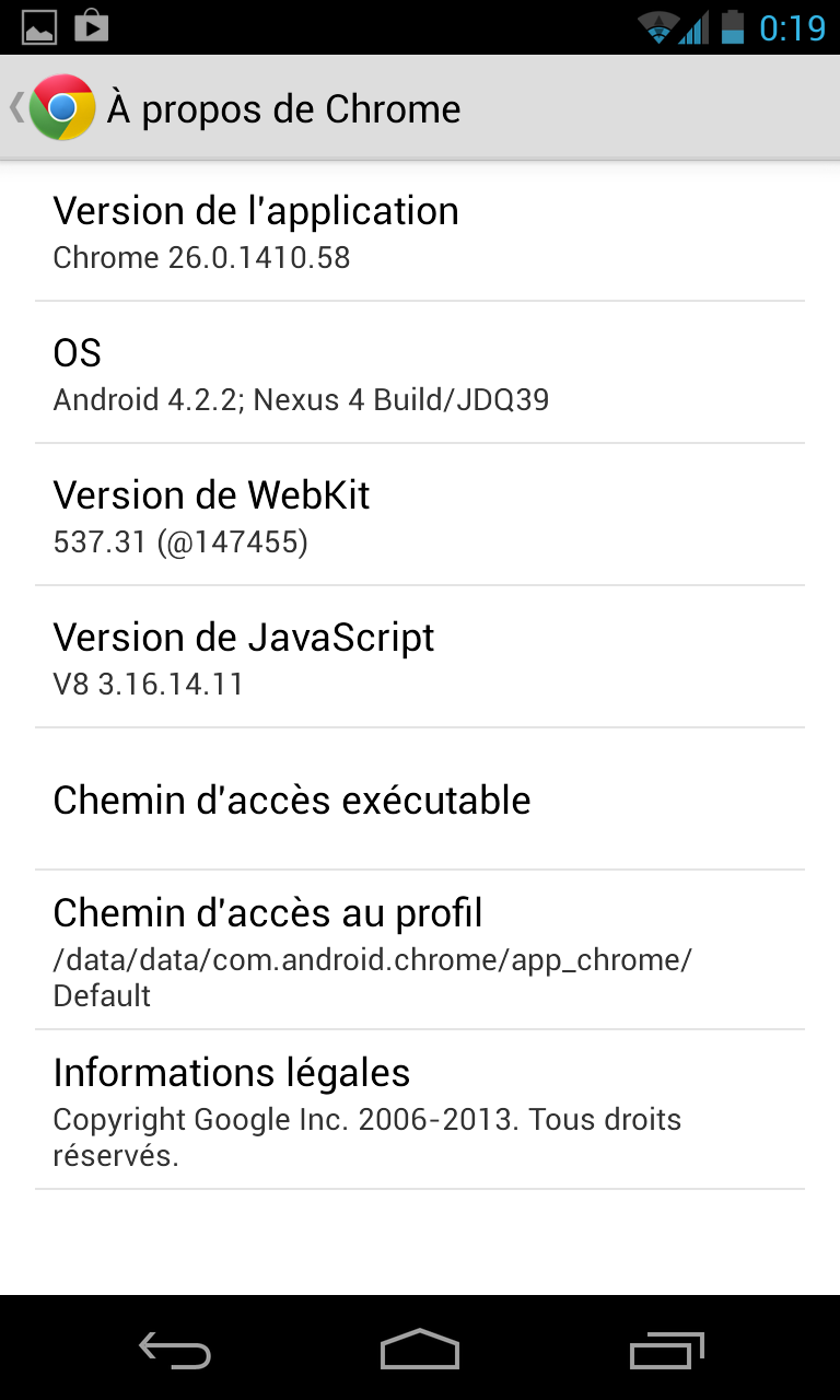 Chrome Android synchronisation