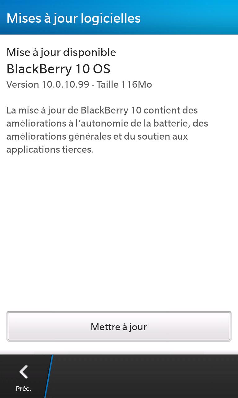 BlackBerry 10 Mise à jour 10.0.10.99