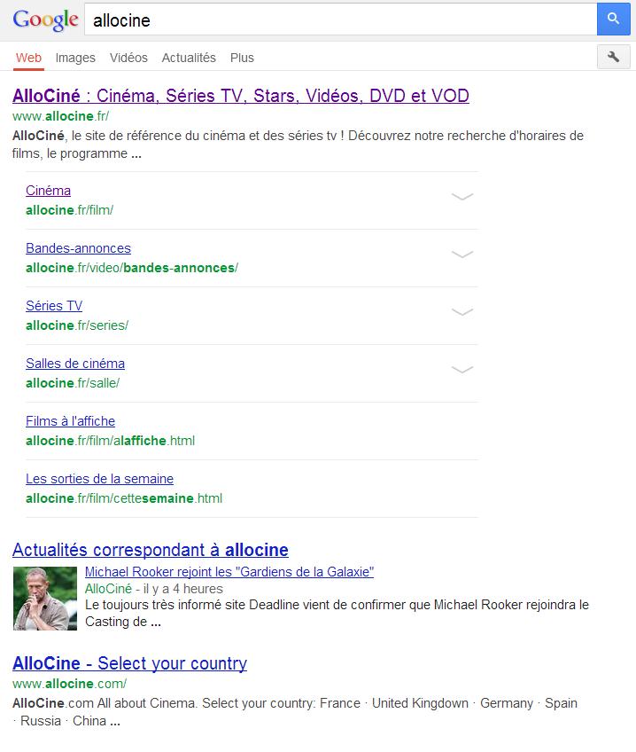 Google recherche mobile Allociné