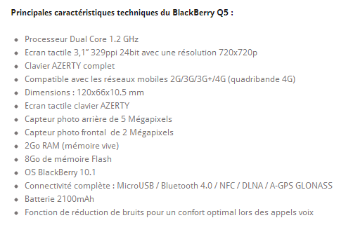BlackBerry Q5 SFR