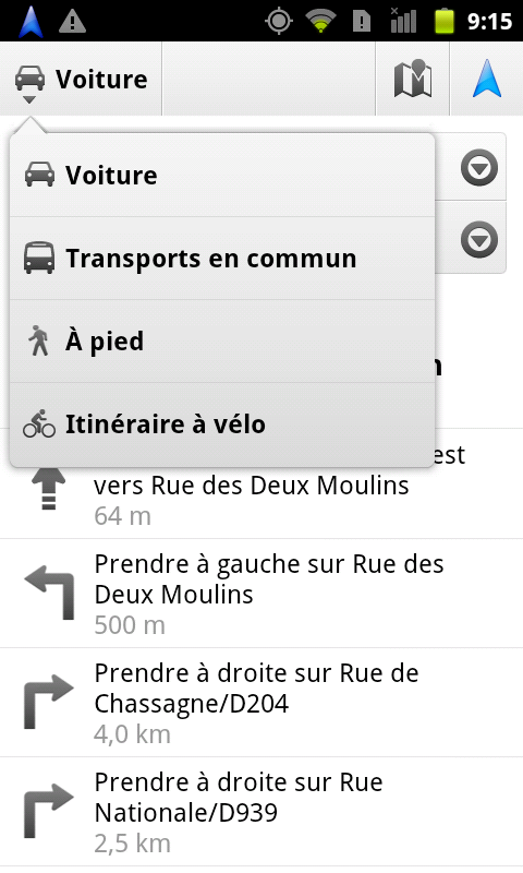 Maps vélo Android