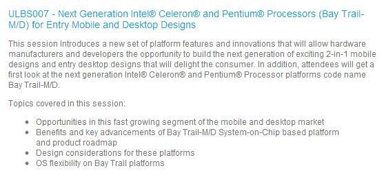 Intel IDF 2013 BayTrail Session Celeron Pentium