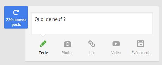 Google+ messages en attente