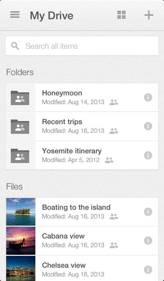 Google Drive 2.0 iOS