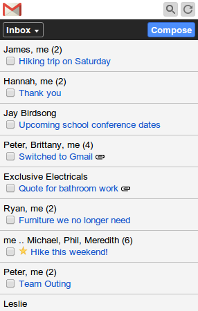 Gmail feature phone