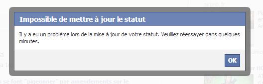 Facebook erreur message