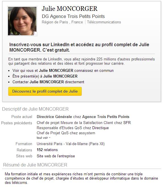 Julie Moncorger LinkedIn