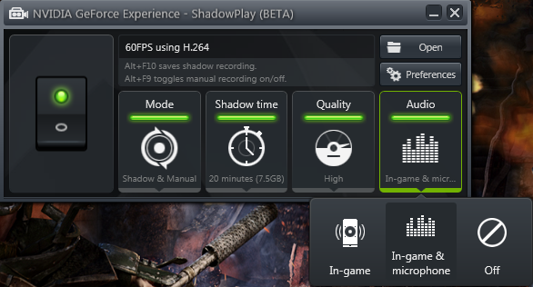 GeForce Experience 1.8 ShadowPlay