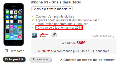Free Mobile 4G iPhone 5s
