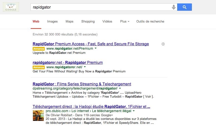 Google lève sa censure vis-à-vis de l'hébergeur de fichiers Rapidgator