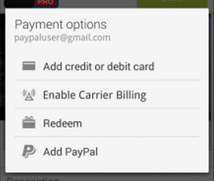 how to add paypal to google play