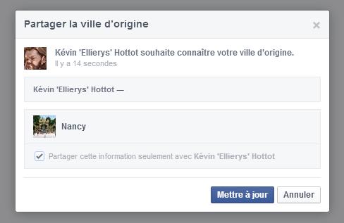 Facebook Demande Vie privée