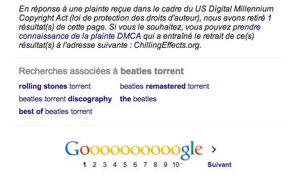 google dmca beatles